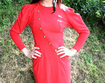 Bright Red Long Sleeved Shnazzy Lady Captain Dress - 1980s Vintage - Size Small 3/4