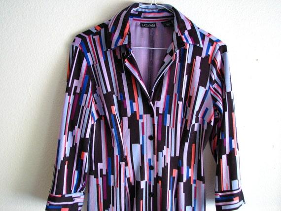 Retro Purple Geometric Striped Dress - Size Extra Small