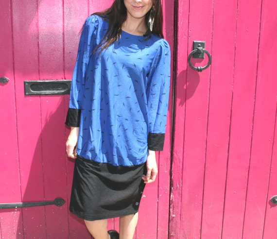 Cobalt Blue And Black Eyelash Print Dress - Vintage 1980's, Long Sleeved - Size 7/8 Medium