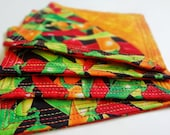 Fiesta Fabric Coasters, Southwest, Cinco de Mayo, Summer, Hostess Gift, Entertaining, Housewares, Kitchen, Mug Mat, Chili Pepper, Tomato