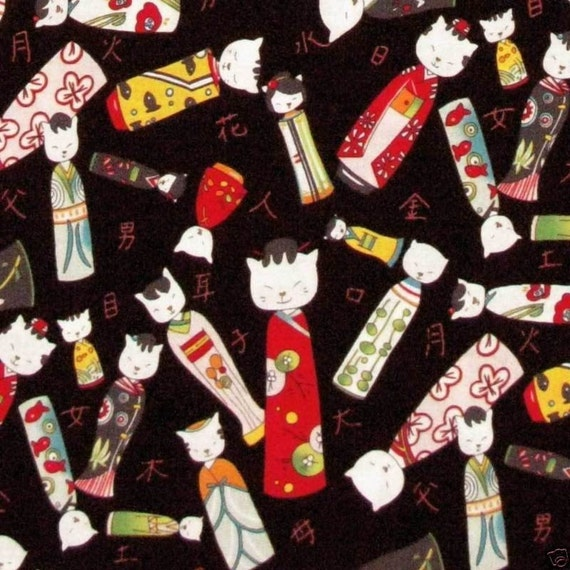 SALE - Kitty Kokeshi in Black - Alexander Henry - One Yard - SALE
