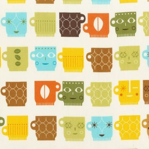 SALE - Metro Cafe - Coffee Cups in Retro - Robert Kaufman - One Yard - SALE