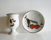 Vintage Stoneware Speckled Cherry Plate and Goblet