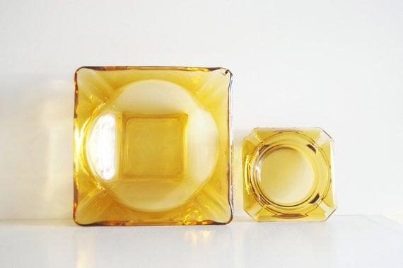 Vintage 70s Amber Glass Square Ashtrays