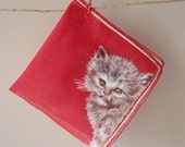 Vintage Red Handkerchief with Kittens and Bumblebees