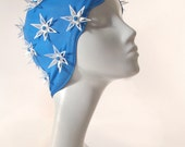 Vintage Rubber Bathing Swim Cap in Bright Blue with White Flowers