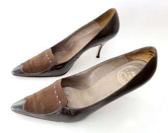Vintage Mid Century Brown Leather Shoes UK6 US8