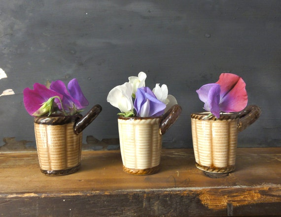 Vintage Ceramic Flower Basket Bud Vases Cups