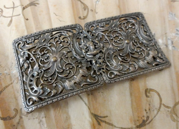 Antique Belt Buckle Ornate Repousse