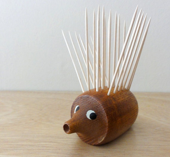 Vintage Mid Century Teak Hedgehog Toothpick Holder