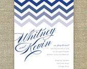 Chevron Blue Wedding Invitations Sample