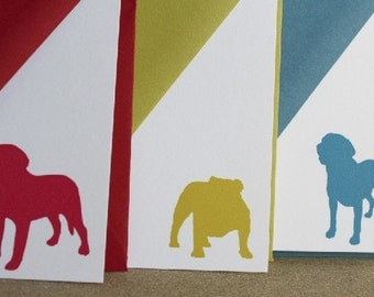 Dog Silhouette Notecards, set of 12 personalized stationery cards with matching envelopes