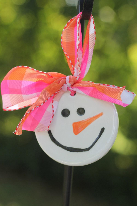 Snowman face ornament - Whimsy Girl Snowman Hand Painted Ceramic Christmas Ornament Snowman Lovers Ornament Snowman Ornament Snowman Face Ornament