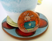 Artistic illustrated pin. Lovely funny rabbit in a teapot. Summer collection brooch