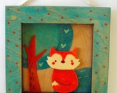 Original acrylics square paint. Funny cartoon fox in turquoise frame