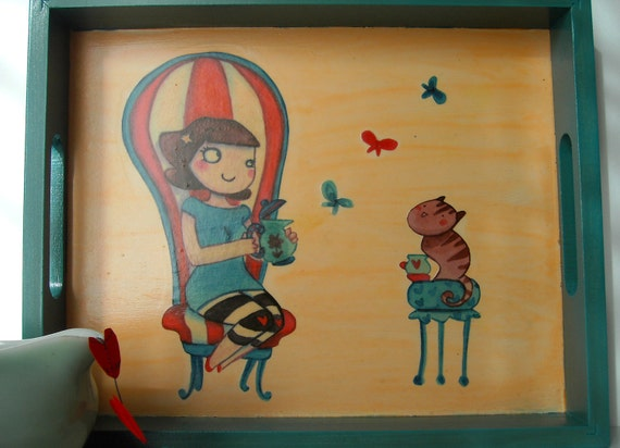 SPECIAL OFFER Cartoon decoupage wood tray. Girl, cat and butterflies. Flower brooch for free
