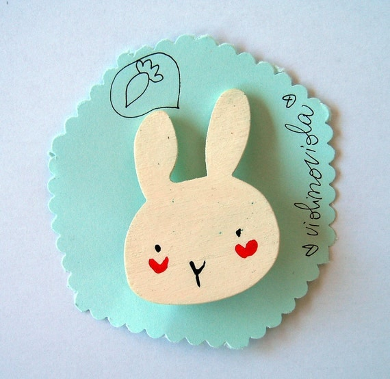 funny white rabbit head, wooden brooch hand made in Italy
