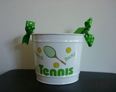 Personalized White Metal Bucket with lime Green Tennis Design and Tennis Racket and Yellow Tennis Balls