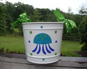 White Bucket with Marine and Aqua Blue Jellyfish and Lime Green and Blue Polka Dots