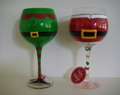Personalized Christmas Wine Glass - Red Elf or Santa Design - Glasses oversized