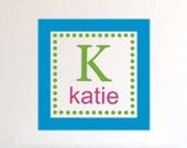 Square Dot Initial Name Vinyl Decal Monogram - Blue, Pink and Lime