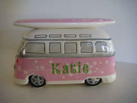 Surfing Girls Personalized Pink and Green VW Van Bank