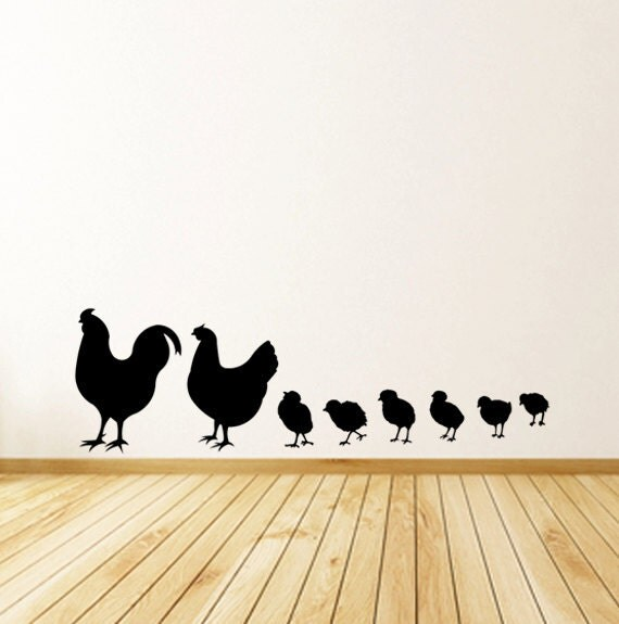 Count Your Chicks - Family of Mom, Dad and Chicks Vinyl Decal Wall Art - Personalize Your Family