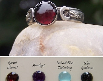 Triple Moon - Choose your 8mm Stone - Set in Sterling Silver - 9 stone choices