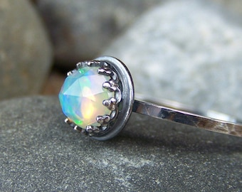 Hespera - Glowing 6mm Rose Cut Ethiopian Opal in Sterling Crown Bezel and Silver Band