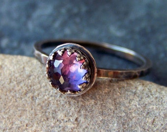 Iris - Faceted Brilliant Rose Cut 6mm Amethyst in Sterling Silver Crown Bezel