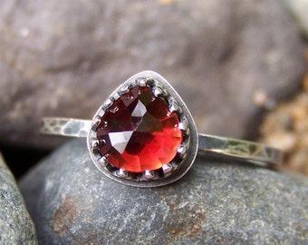 Red Hot - 6mm Heart-Pear Rose Cut Garnet in Sterling Silver Crown Bezel