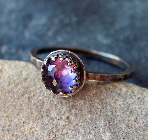 Iris - Faceted Brilliant Rose Cut 6mm Amethyst in Sterling Silver Crown Bezel