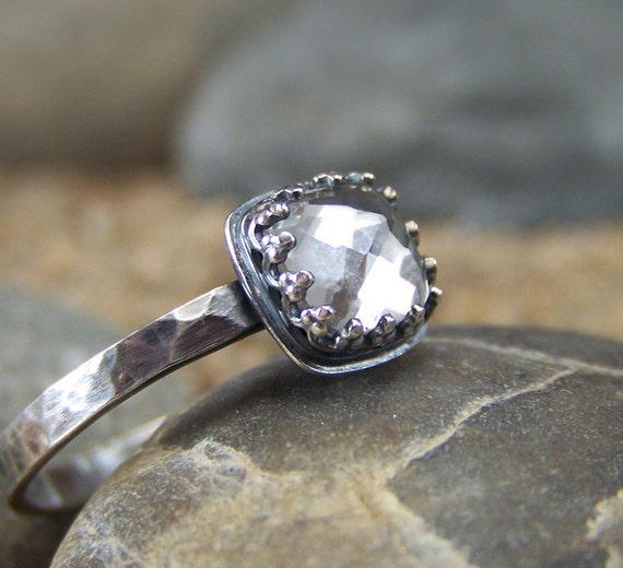 Aura - Brilliant Cushion Rose Cut 6mm White Topaz in Sterling Silver Crown Bezel