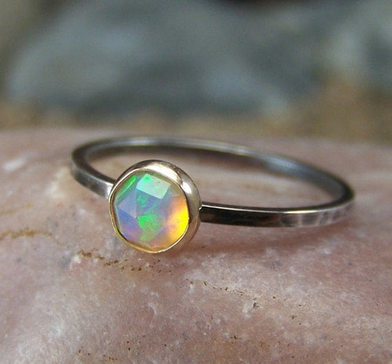 Golden Hespera - Glowing 6mm Rose Cut Ethiopian Opal in Gold Bezel and silver band