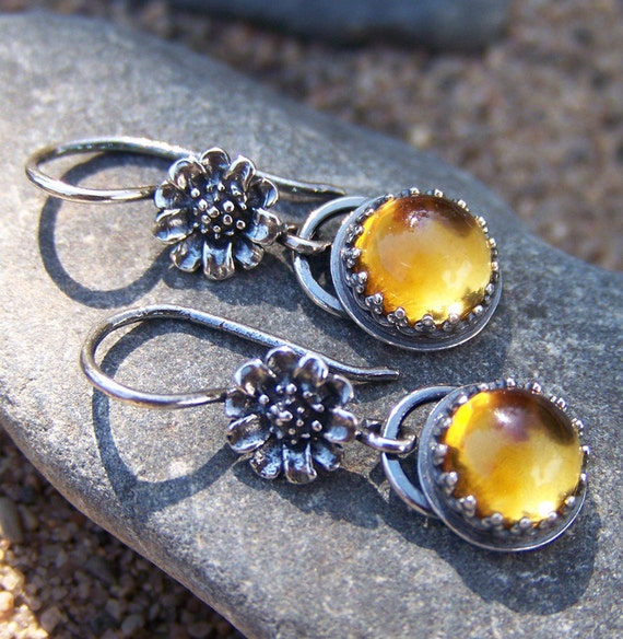 Sunflowers - 8mm Honey Golden Citrine  - One of a Kind - Earrings in Sterling Silver