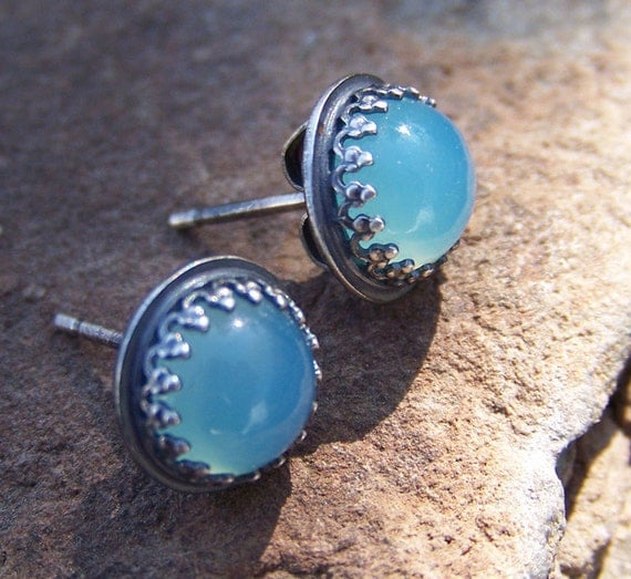 8mm Smooth Ocean Blue Chalcedony in Crown Bezel Sterling Silver Post Earrings