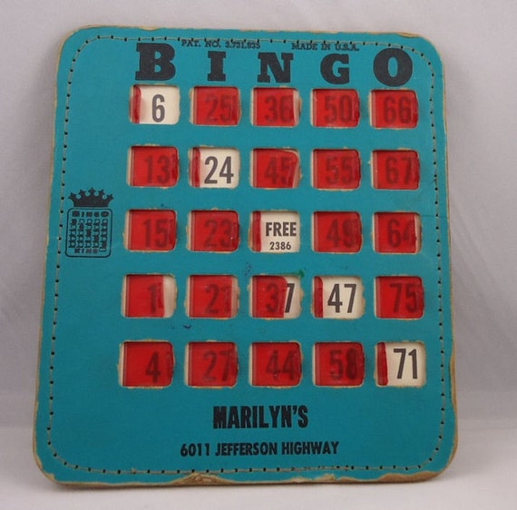 Vintage BINGO Card with Sliders Over the Numbers