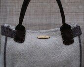 The Dara, Hand Knit Felted Handbag Micro-suede Lining and Suede Handles
