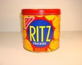 Vintage Ritz Cracker Tin Cannister 1977