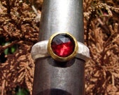 Wine Red Rose Cut Garnet, 24k Gold and Sterling Silver Ring.
