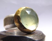 Green Rose Cut Prehnite, 24k Gold and Sterling Silver Ring.