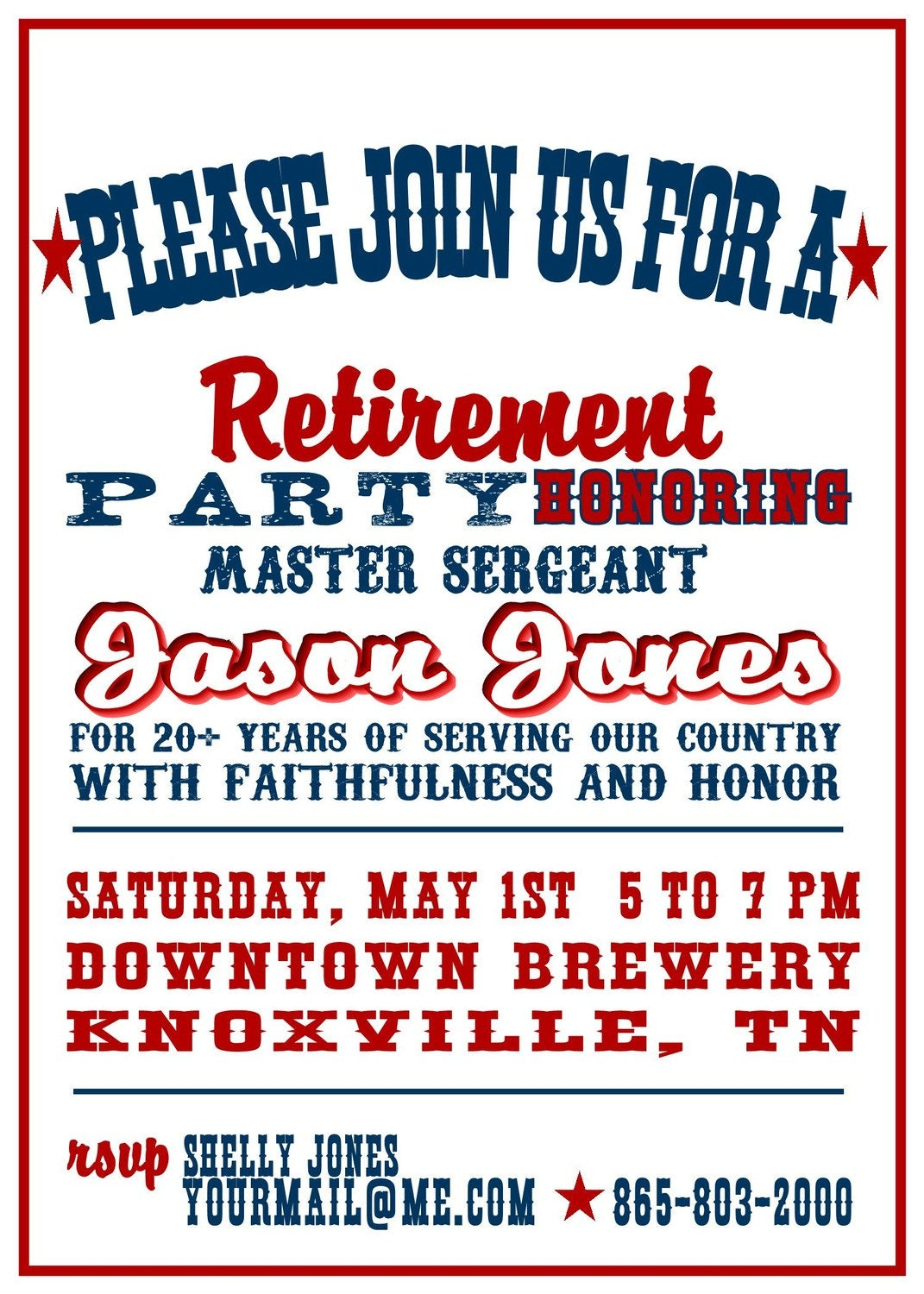 Red White and Blue Military Retirement Party Invitation