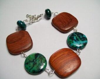 Lapischrysocolla and wood bracelet