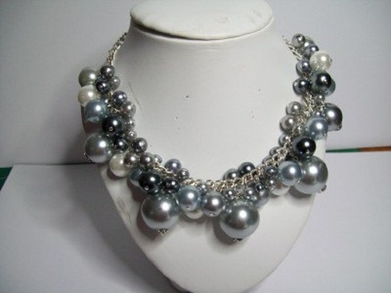 Grey glass pearl charm necklace