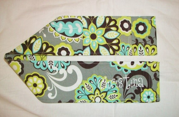 dSLR Camera Strap Slip Cover, Personalized Gray with bright floral fabric and lens cap pocket