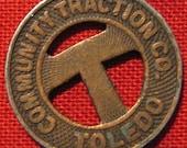 Vintage Toledo Ohio Community Traction Company Transit Token Adams