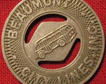 Vintage Beaumont Texas City Lines Bus Token With Holes Good For Jewelry