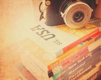 Kodak camera photo, travel photograph, road trip, vintage duex, books wanderlust vacation library study decor brown orange 5x7