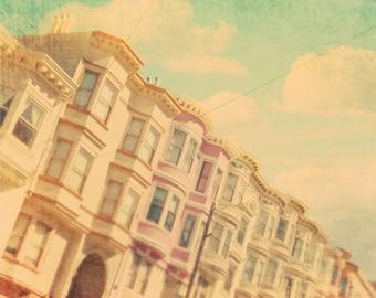 large wall art, San Francisco photography, California home decor, San Fran photograph, Victorian architecture, pastel, travel print 24x36