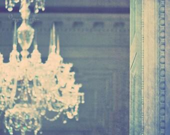 clearance sale, chandelier photo, romantic print, blue home decor, 5x5 photograph, sparkly, dreamy wall art, girls room, chandelier print